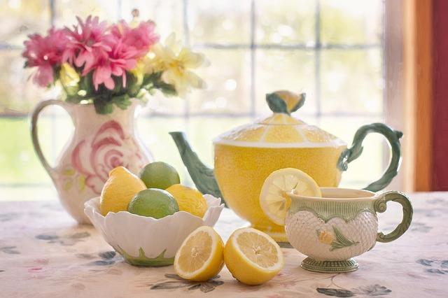 tea, lemons, tea pot