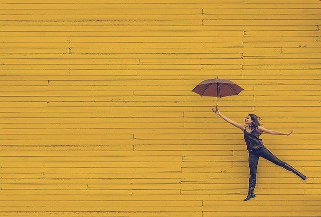 woman, umbrella, floating
